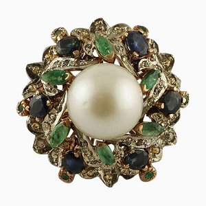 Handcrafted Ring with Pearl, Diamond, Emeralds, Blue Sapphire, 9 Karat Gold and Silver
