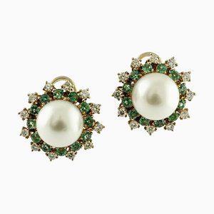 Handcrafted Earrings with Diamonds, Emeralds, Pearls and 14 Karat Rose Gold, Set of 2