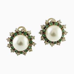 Orecchini fatti a mano con diamanti, smeraldi, perle e oro rosa 14 carati, set di 2