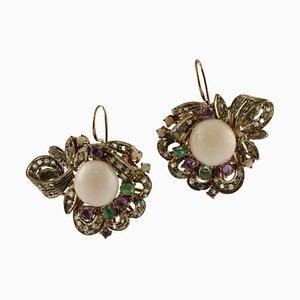 Boucles d'Oreilles Boutons Corail Rose Artisanaux, Diamants, Émeraudes, Améthystes et Argent Or Rose 9K, Set de 2
