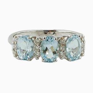 18 Karat White Gold Ring with Diamond & Aquamarine