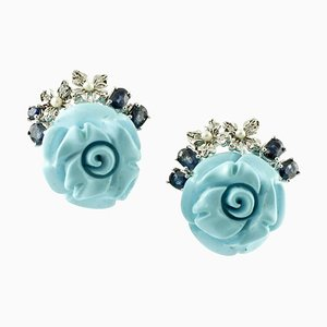 Boucles d'Oreilles Artisanales Diamants, Saphirs, Perles, Turquoise, Roses et Or 14 Carat, Set de 2