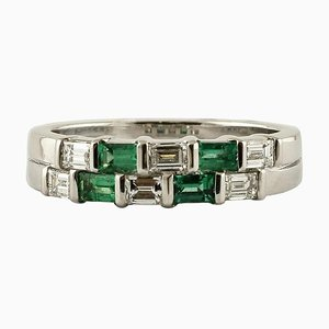 Handcrafted Diamond, Emerald & 18 Karat White Gold Double-Band Ring