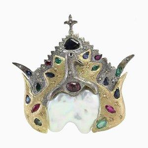 Handgefertigte Brosche oder Anhänger mit Gold, Silber, Diamant, Rubin, Smaragd, Saphir & barocker Perle