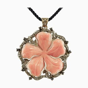 Handcrafted Pendant with Orange or Pink Coral Flower, Diamond, Sapphire, Rose Gold and Silver