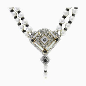 Handcrafted Multi-Strand Necklace with Pearl, Onyx, Mother-of-Pearl, Diamond & Gold