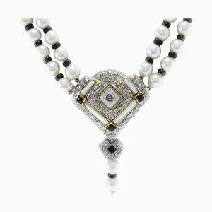 Handgefertigte Multi-Strand Halskette mit Perle, Onyx, Perlmutt, Diamant & Gold