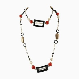 Handcrafted Necklace with Onyx, Pearls, Red Bambù, Rose Gold and Silver