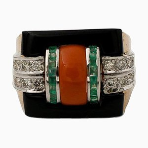 Handcrafted 14 Karat Rose and White Gold, Diamond, Emerald, Coral & Onyx Ring