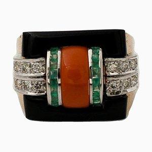 Handgefertigter Ring aus 14 Karat Rose und Weißgold, Diamant, Smaragd, Koralle & Onyx