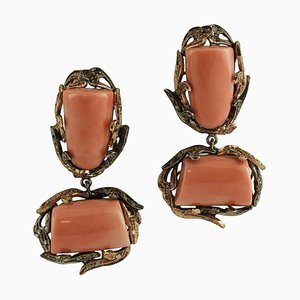 Handcrafted Dangle Orange Coral, Diamonds, 9 Karat Rose Gold and Silver Earrings, Set of 2