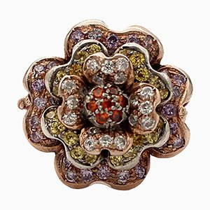 Handcrafted Flower Ring with Multicolored Stones, 9 Karat Rose Gold and Silver
