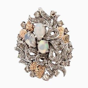 Bague Artisanale en Or Blanc et Rose 14 Carats, Diamant et Opale