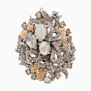 Handcrafted 14 Karat White and Rose Gold, Diamond & Opal Ring