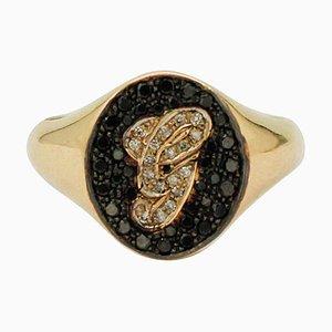 White and Black Diamond & 18 Karat Yellow Gold Monogram Ring