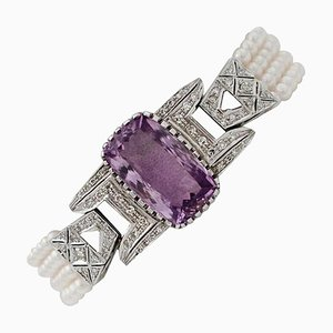 Bracelet à maillons Artisanal en Or Blanc 14 Carat avec Diamant, Améthyste et Perle
