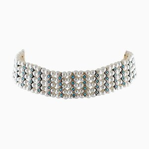 Handcrafted Beaded Choker Necklace with Turquoise, White Pearl, 9 Karat Rose Gold and Silver