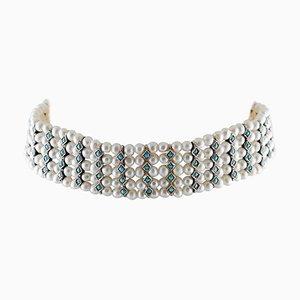 Handgefertigte Perlen Choker Halskette mit Türkis, Weißer Perle, 9 Karat Roségold und Silber