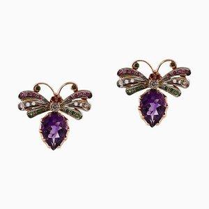 Handcrafted Diamonds, Rubies, Tsavorite Amethysts, 9 Karat Rose Gold and Silver Earrings, Set of 2