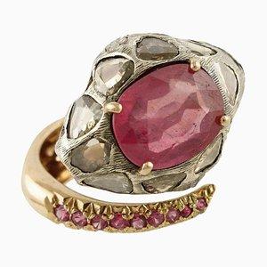 Bague Serpent Diamant, Rubis, Or Rose et Argent