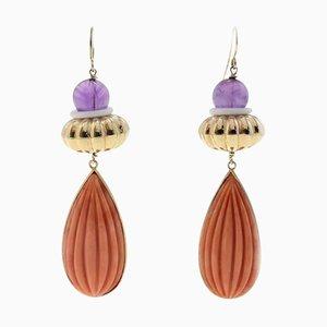 Ametiste, gocce di corallo rosso incise, anelli in agata bianca, orecchini in oro rosa 8K, set di 2