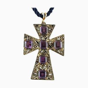 Amethysts, Diamonds, 9 Karat Rose Gold and Silver Cross Pendant