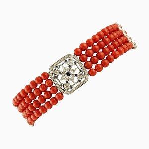 Bracelet en Perles de Corail Rouge avec Détails en Diamant et Saphir Bleu