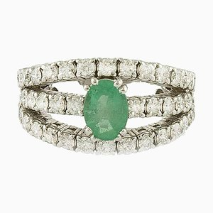 Emerald, Diamond and White Gold Engagement Ring