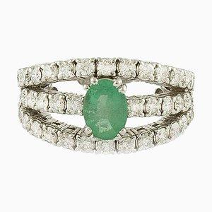 Smaragd, Diamant und Weißgold Verlobungsring
