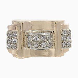 Bague Tendance en Or Jaune et Diamant Fait Main