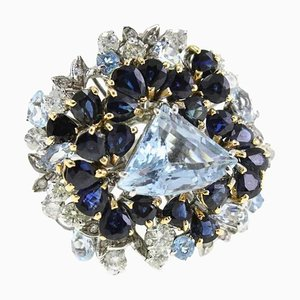 Bague Aigue-Marine, Diamant et Or Blanc et Jaune