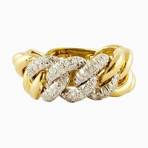 Kleiner Weißer Diamant Groumette Modell Ring aus 18 Karat Gelb- und Weißgold