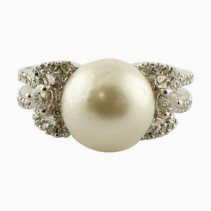 Weiße Diamanten, Weiße Australische Perle, Bogenförmiger Ring aus 18 Karat Weißgold
