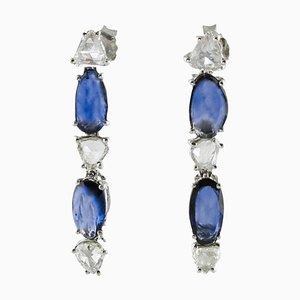 Boucles d'Oreilles Artisanales en Saphir, Diamants et Or Blanc, Set de 2