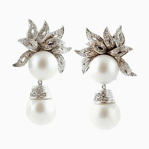 Handcrafted Clip Earrings with 80.23 Carat South-Sea Pearls, White Diamond and White Gold, Set of 2