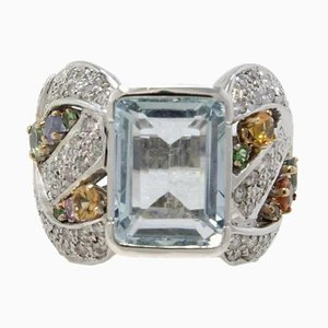 Bague Artisanale en Or Blanc, Diamant, Saphir et Aigue-Marine
