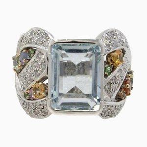 Handgefertigter Ring aus Weißgold, Diamanten, Saphiren & Aquamarin