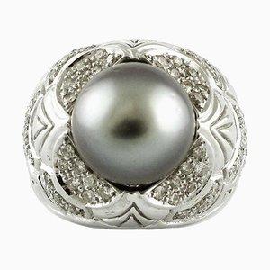 Bague Artisanale en Or avec Diamant et Perle Grise