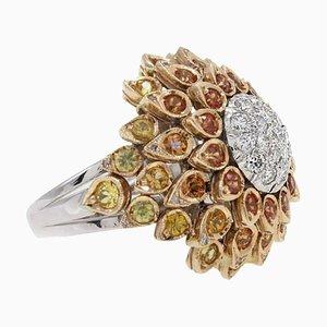 Handgefertigter Ring mit mehrfarbigen Saphiren, Diamanten, Weiß- und Gelbgold