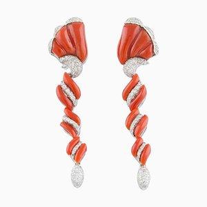 Handgefertigte Spiral Clip-on Gravierte Rote Koralle, Weiße Diamanten und 14 Karat Weißgold Ohrringe, 2er Set