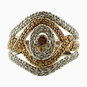 1.49 Carat White and Brown Diamond, 18 Karat White and Rose Gold Band Ring