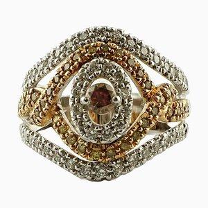 1,49 Karat Weißer und Brauner Diamant, 18 Karat Weiß- und Roségold Bandring