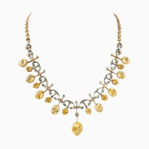 Handcrafted Antique Choker Necklace with Diamond, Yellow Topaz & Rose Gold