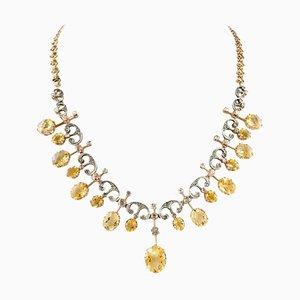 Handgefertigte antike Choker Halskette mit Diamant, gelbem Topas & Roségold