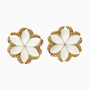 Handcrafted Clip-on White Coral Flowers, Diamond and 14K Rose Gold Earrings, Set of 2