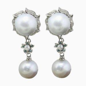 Handgefertigte Hängende Weiße und Grüne Diamanten von 0,38 Ct, 12,02 G Ohrringe aus Australischen Perlen und Gold, 2er Set