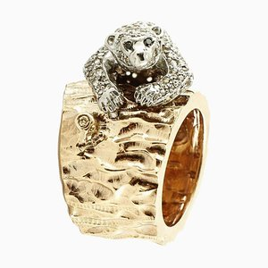 Handcrafted Trunk and Bear Ring in 2.12 Carat White and Black Diamond, Rose Gold and Silver
