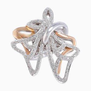 Diamant & Rose und Weißgold Ring