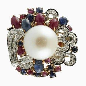 Bague Cluster Artisanale en Or, Diamant, Saphir, Rubis et Perle