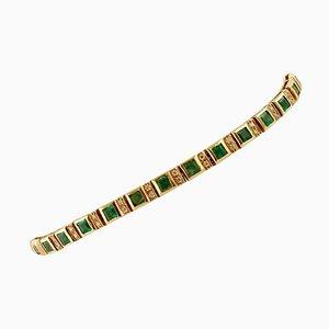 Handgefertigtes Link Tennis Armband mit Diamant, Smaragd und 14 Karat Roségold
